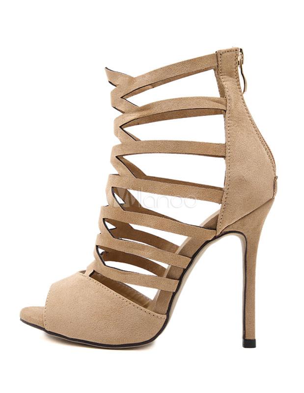 wildleder gladiator sandalen high heel peep toe ausgeschnitten sandalen stiefel f r frauen. Black Bedroom Furniture Sets. Home Design Ideas