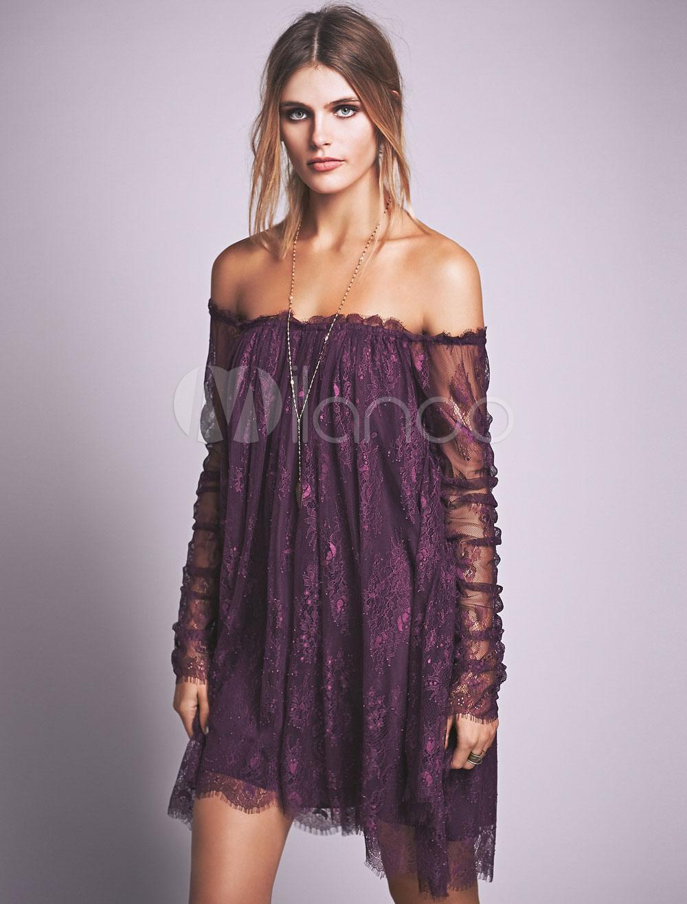 Lilac Lace Dress Off The Shoulder Long Sleeve Semi-Sheer Irregular Short Dress (Women\\'s Clothing Lace Dresses) photo