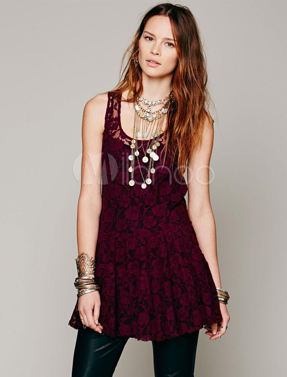 Burgundy Lace Dress Round Neck Sleeveless Semi-Sheer Short Dress For Women (Women\\'s Clothing Lace Dresses) photo