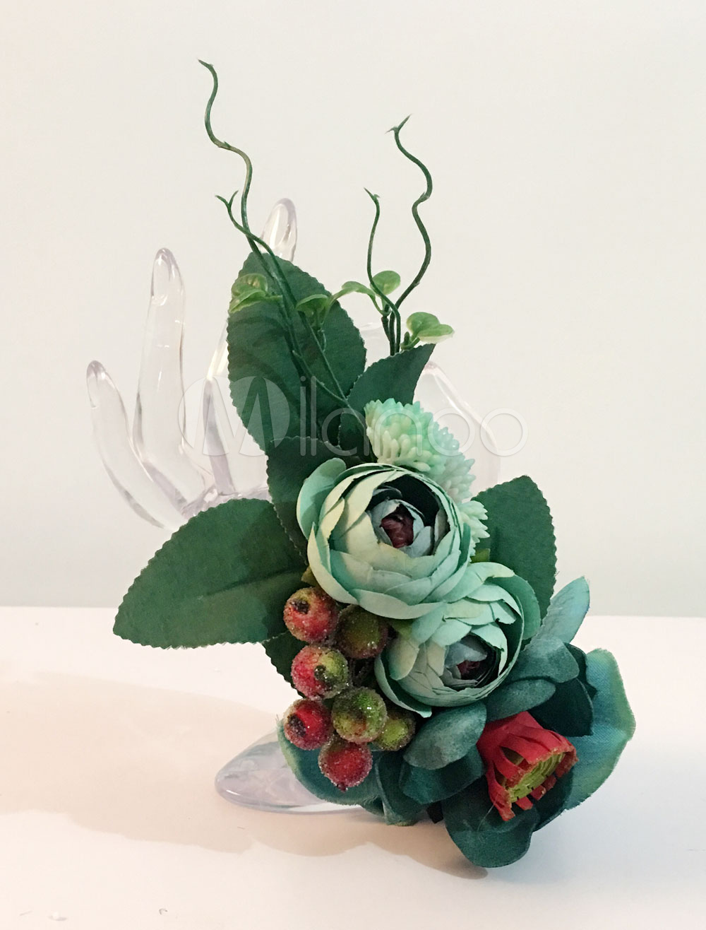 Wedding Flower Bracelet Pearls Beaded Silk Flower 8532180