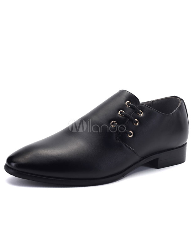 Pointed Toe Dress Shoes Black Lace Up Flat Formal Shoes For Men thumbnail