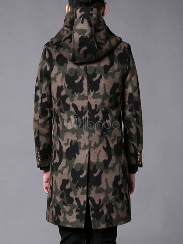 manteau camo hommes capuchon long manche slim fit coton manteau avec boutons. Black Bedroom Furniture Sets. Home Design Ideas