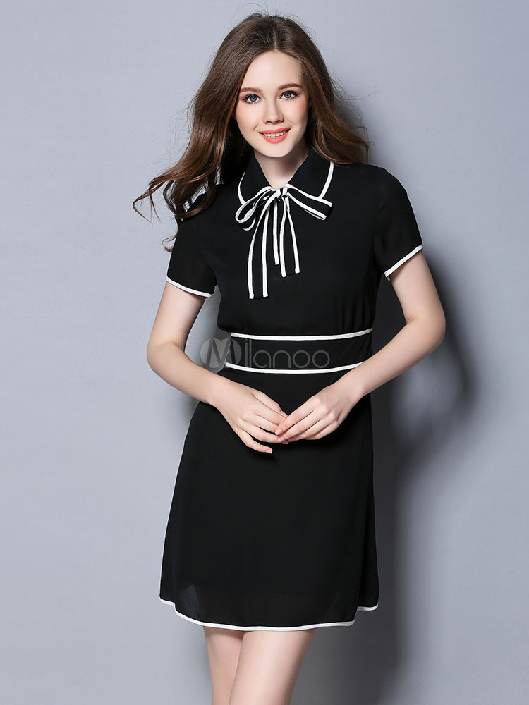 Black Vintage Dress Women's Bow Turndown Collar Short Sleeve Slim Fit Dress (Women\\'s Clothing Vintage Dresses) photo