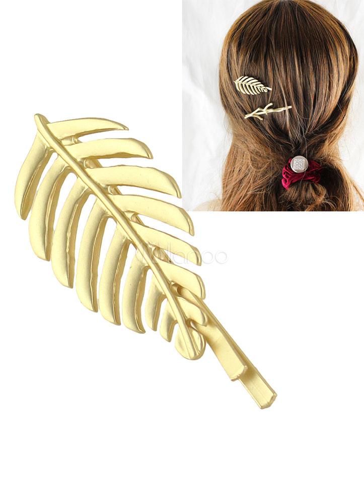 Feuille d'or en épingle à cheveux strass alliage métal de