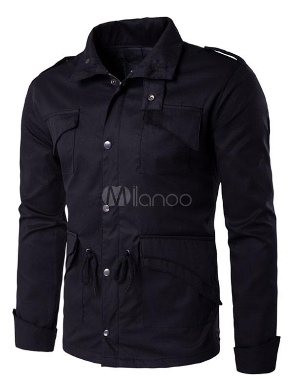 Men's Black Jacket Long Sleeve Button Up Drawstring Waist Shoulder Strap Military Jacket thumbnail