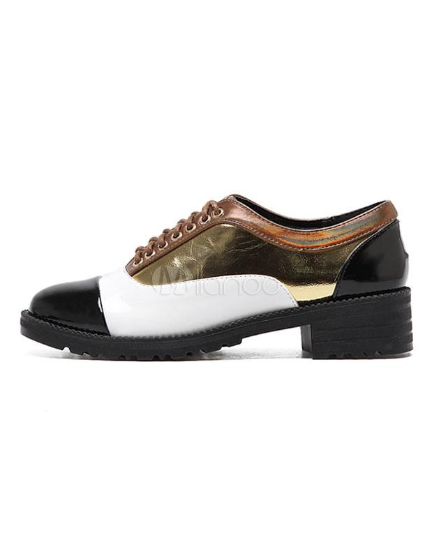 oxford chaussures lacets des femmes couleur bloc vitr pu or chaussures occasionnelles. Black Bedroom Furniture Sets. Home Design Ideas