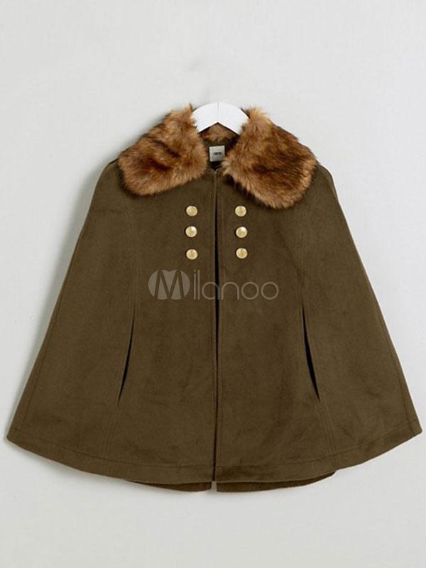 cape manteau vert fausse fourrure collier manteau boutonn poncho des femmes. Black Bedroom Furniture Sets. Home Design Ideas