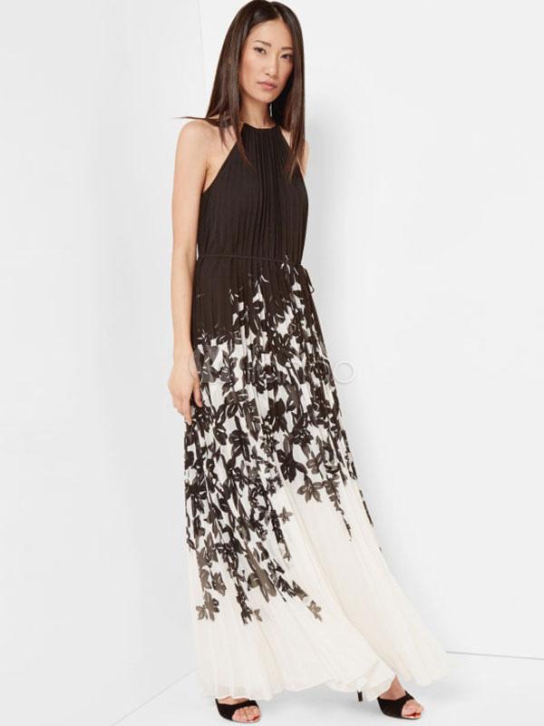 Halter Long Dress Black Sleeveless Floral Print Summer Pleated Dress (Women\\'s Clothing Maxi Dresses) photo