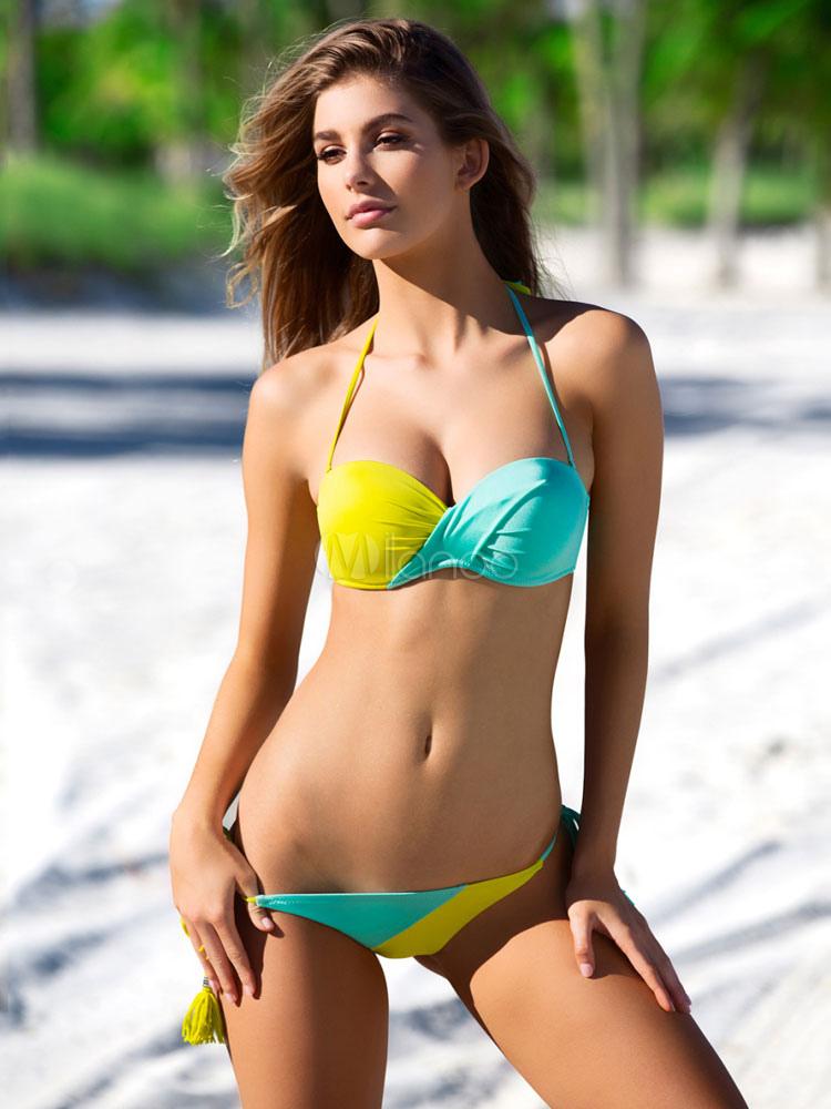 Sexy bikini costumi da bagno due tono halter maniche annodato bikini costumi da bagno per le - Bikini costumi da bagno ...