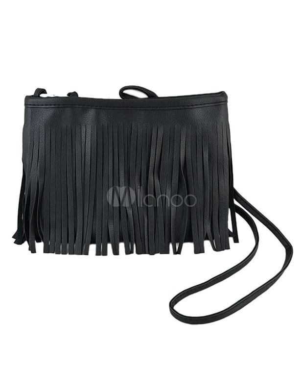 Fringe Shoulder Bag Black Single Strap Crossbody Bag For Girl
