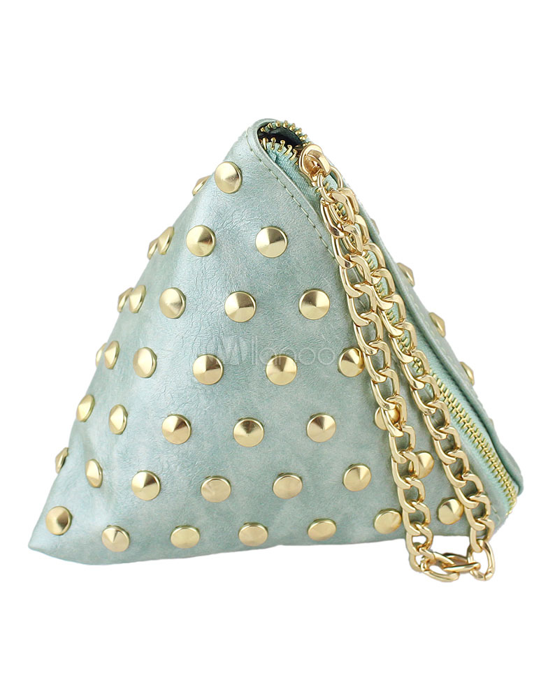 Green Mini Clutch Bag PU Leather Triangle Bag Fashion Rivet Chain Women Bag Purse (Women\\'s Clothing Women's Bags) photo