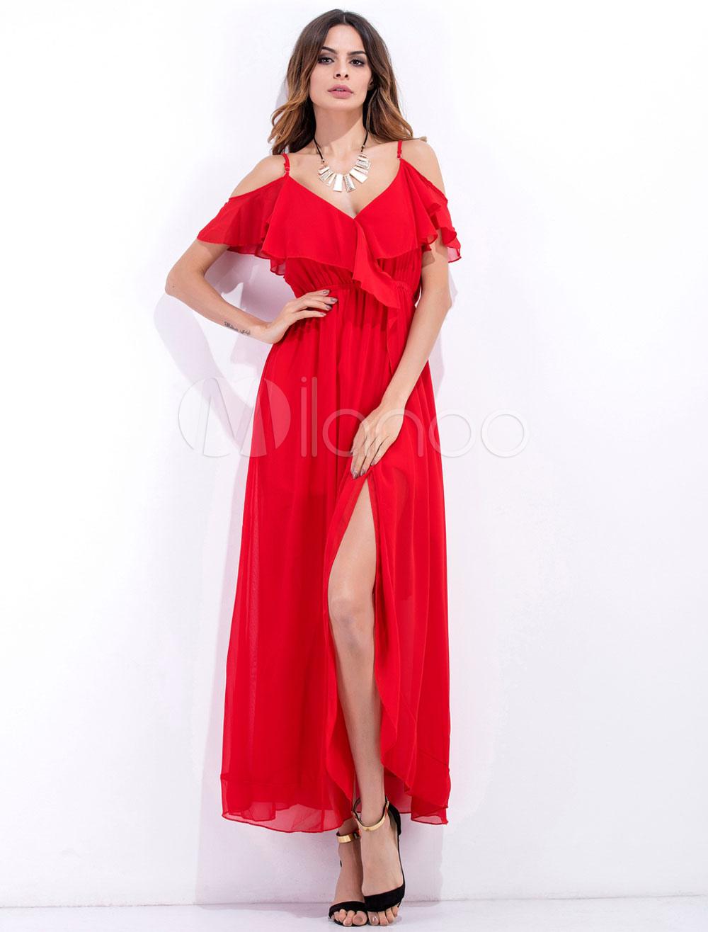 Red Maxi Dress Chiffon Ruffle Strappy Pleated Slit Long Dress For Women (Women\\'s Clothing Maxi Dresses) photo