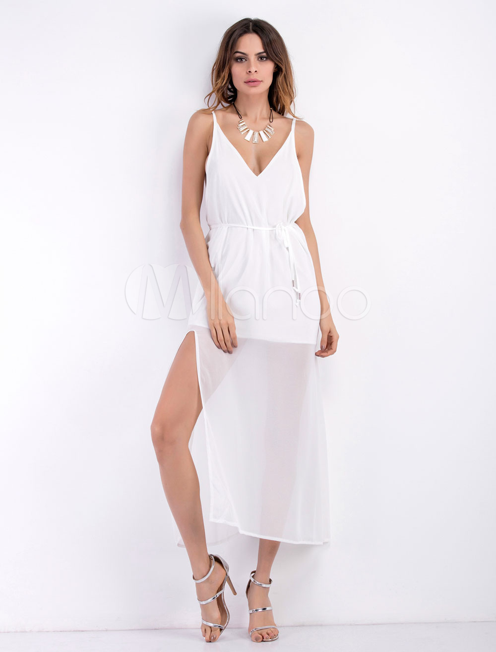 Chiffon Maxi Dress White Strappy V Neck Sleeveless Semi-Sheer Long Dress For Women (Women\\'s Clothing Maxi Dresses) photo
