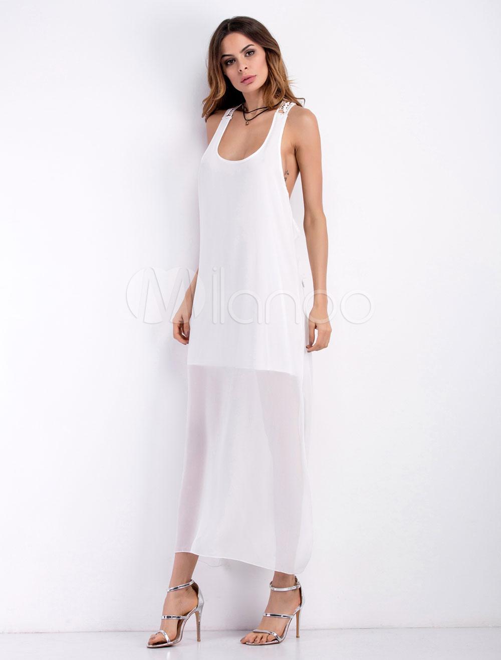 White Maxi Dress Chiffon U Neck Sleeveless Backless Semi-Sheer Long Dress For Women (Women\\'s Clothing Maxi Dresses) photo