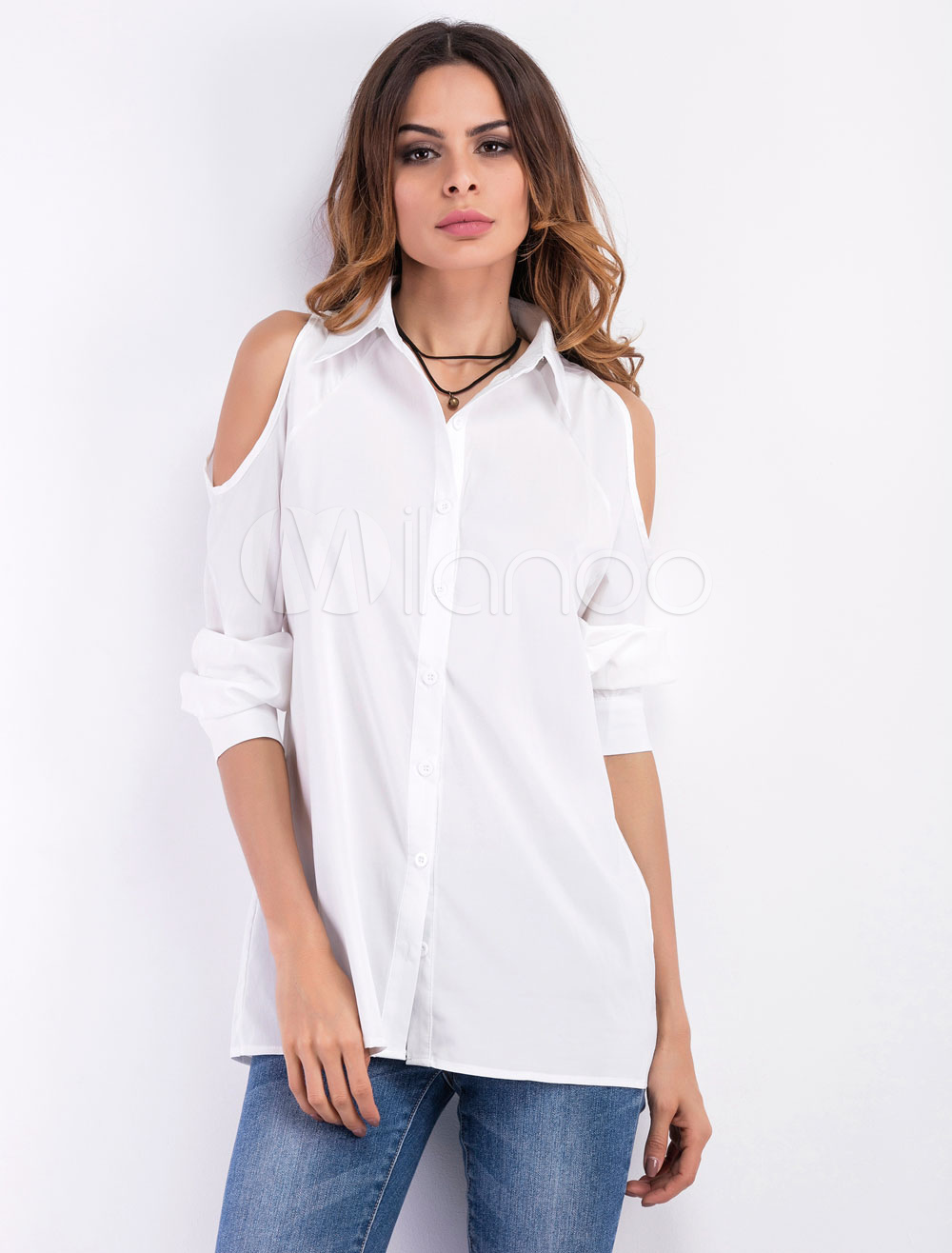 Women's White Shirts Cold Shoulder Long Sleeve Casual Blouses thumbnail