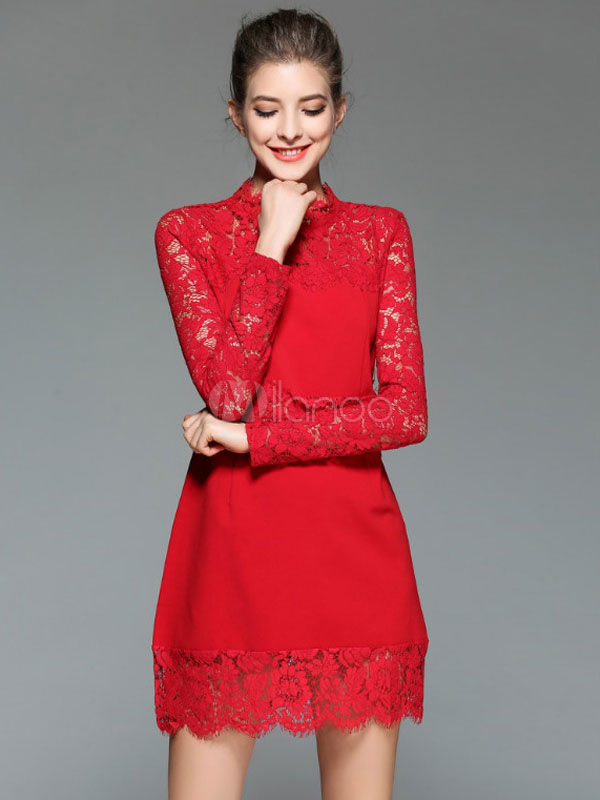 Red Lace Dress Bodycon Women's Long Sleeve Illusion Short Dress (Women\\'s Clothing Lace Dresses) photo