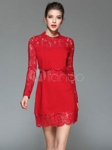 rote spitze kleid figurbetontes damen langarm illusion kurzes kleid. Black Bedroom Furniture Sets. Home Design Ideas