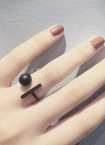 Women's Black Rings Geometric Alloy Ball Opening Rings thumbnail