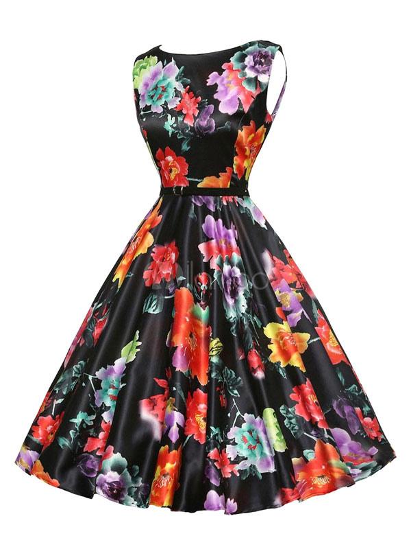 Black Vintage Dress Floral Print Women's Sleeveless Pleated A Line Retro Dress (Women\\'s Clothing Vintage Dresses) photo