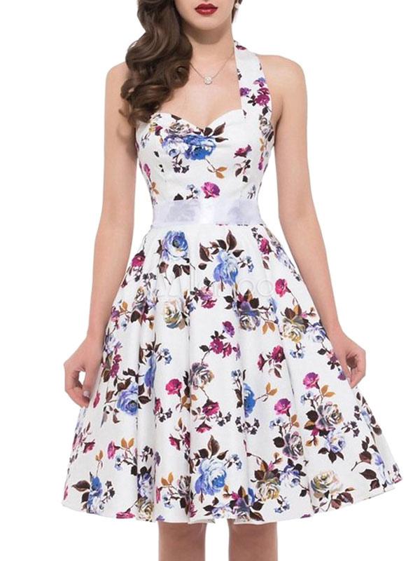 Floral Vintage Dress Halter Flowers Printed A Line Women's Retro Dress (Women\\'s Clothing Vintage Dresses) photo