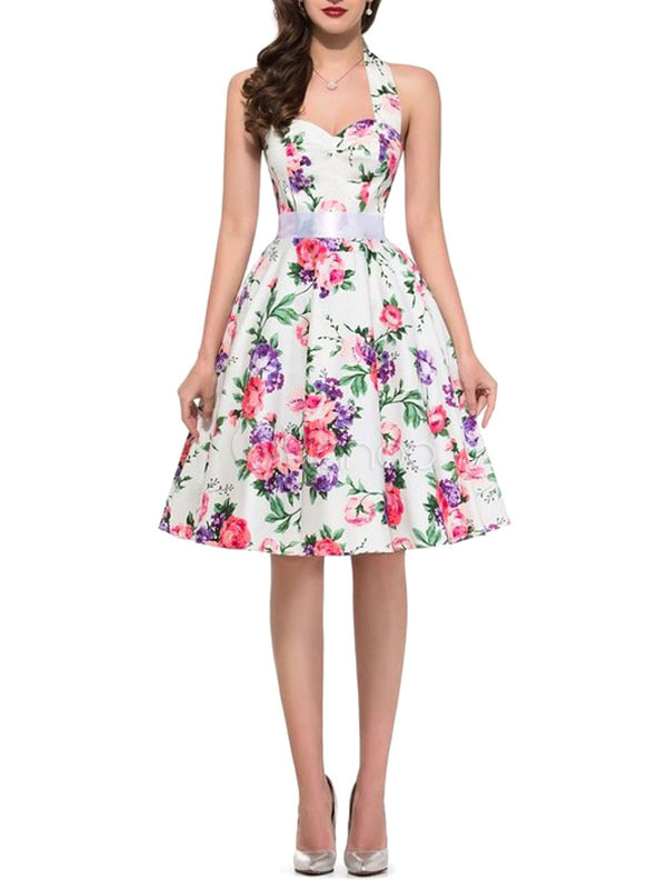 Floral Vintage Dress Pink Flowers Printed Halter Backless Women's Sweetheart Pleated A Line Retro Dress (Women\\'s Clothing Vintage Dresses) photo