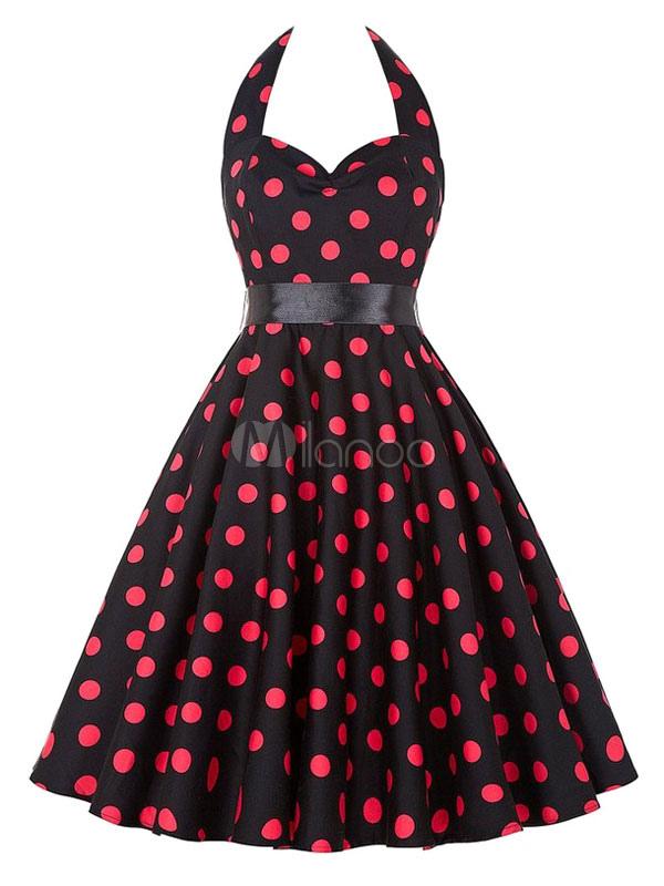 Black Vintage Dress Halter Polka Dot Printed Women's Sweetheart Pleated Retro Dress (Women\\'s Clothing Vintage Dresses) photo