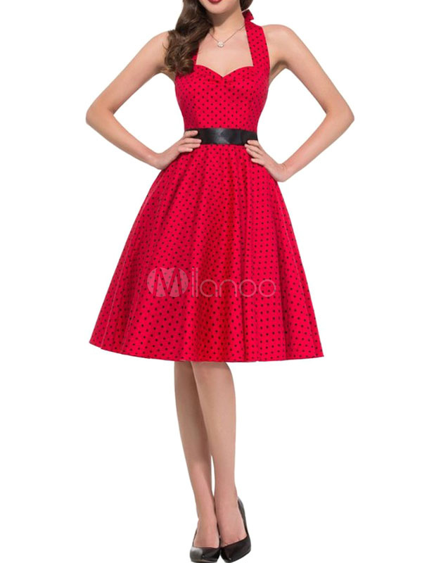 Red Vintage Dress Halter Polka Dot Printed Women's Sweetheart Pleated Retro Dress (Women\\'s Clothing Vintage Dresses) photo