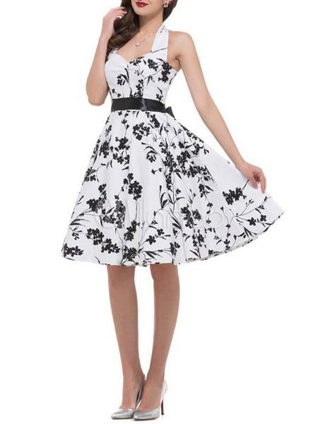 White Vintage Dress Women's Halter Backless Printed Sleeveless A Line Pleated Retro Dress (Women\\'s Clothing Vintage Dresses) photo