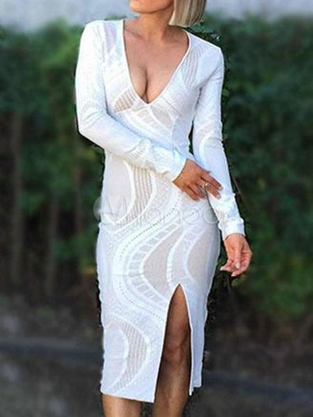 White Bodycon Dress Lace Slit Plunge Sexy Midi Dress (Women\\'s Clothing Bodycon Dresses) photo