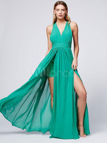 Green Maxi Dress Chiffon V Neck Sleeveless Backless Slit Long Dress For Women (Women\\'s Clothing Maxi Dresses) photo