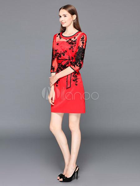 rotes partykleid illusion rundhals halbarm floralen applikationen schlanke passform kleid. Black Bedroom Furniture Sets. Home Design Ideas