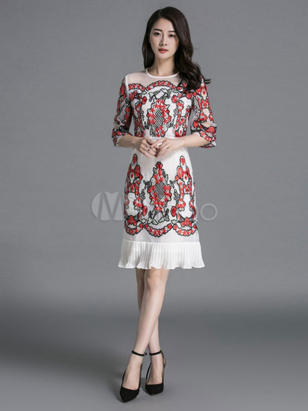 White Party Dress Silk Round Neck Half Sleeve Floral Embroidered Ruffle Hem Slim Fit Dress (Women\\'s Clothing Party Dresses) photo