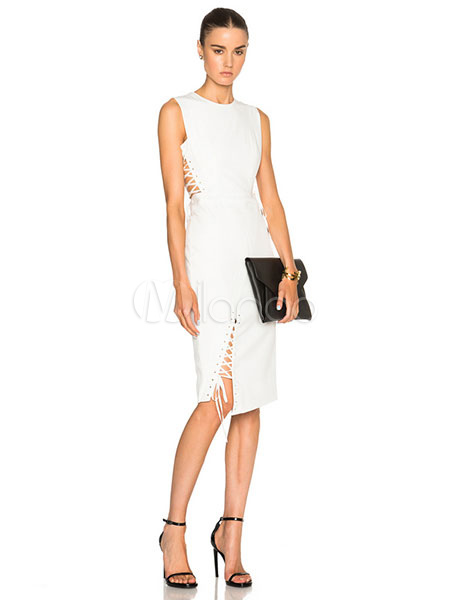 White Party Dress Criss Cross Sleeveless Cut Out Jewel Neck Slim Fit Summer Dress For Women (Women\\'s Clothing Party Dresses) photo