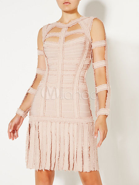 Fringe Party Dress Cut Out Long Sleeve Backless Summer Dress (Women\\'s Clothing Party Dresses) photo