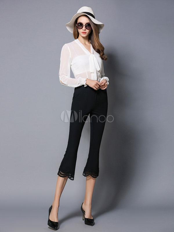 Pantaloni neri chic & moderni da non stirare monocolore di ...