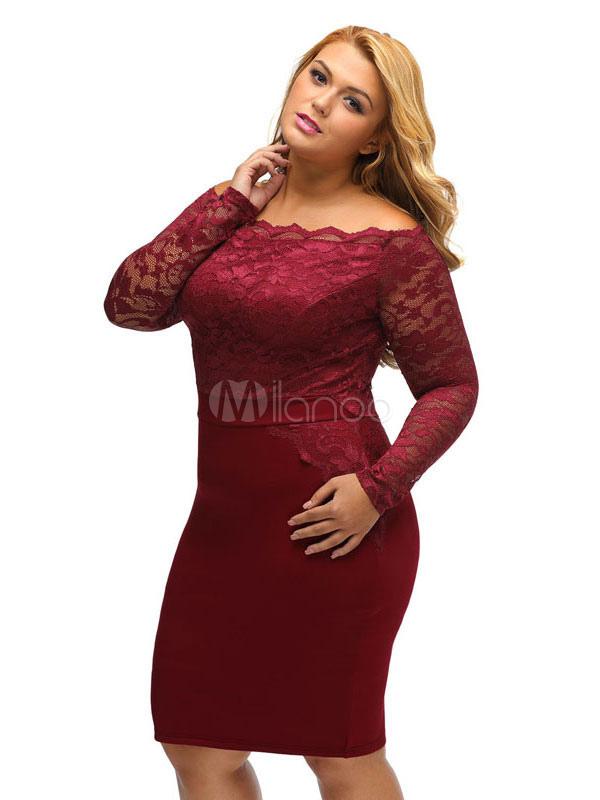 Burgundy Lace Dress Plus Size Bateau Neckline Long Sleeve Slim Fit ...