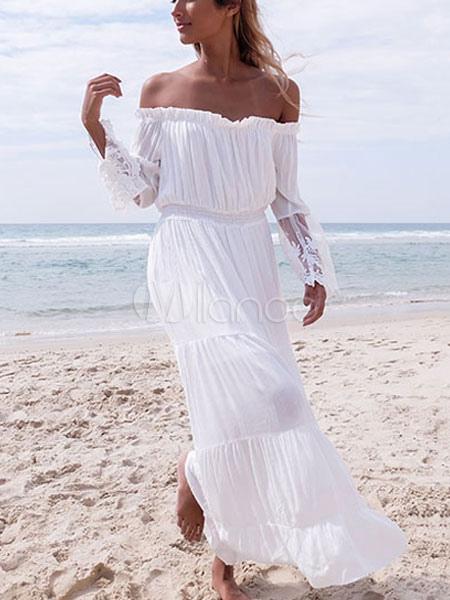 White Maxi Dress Chiffon Off The Shoulder Long Sleeve Pleated Long Dress (Women\\'s Clothing Maxi Dresses) photo