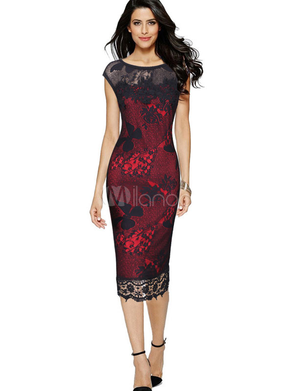 Red Lace Dress Bodycon Women's Sleeveless Illusion Pencil Dress (Women\\'s Clothing Lace Dresses) photo