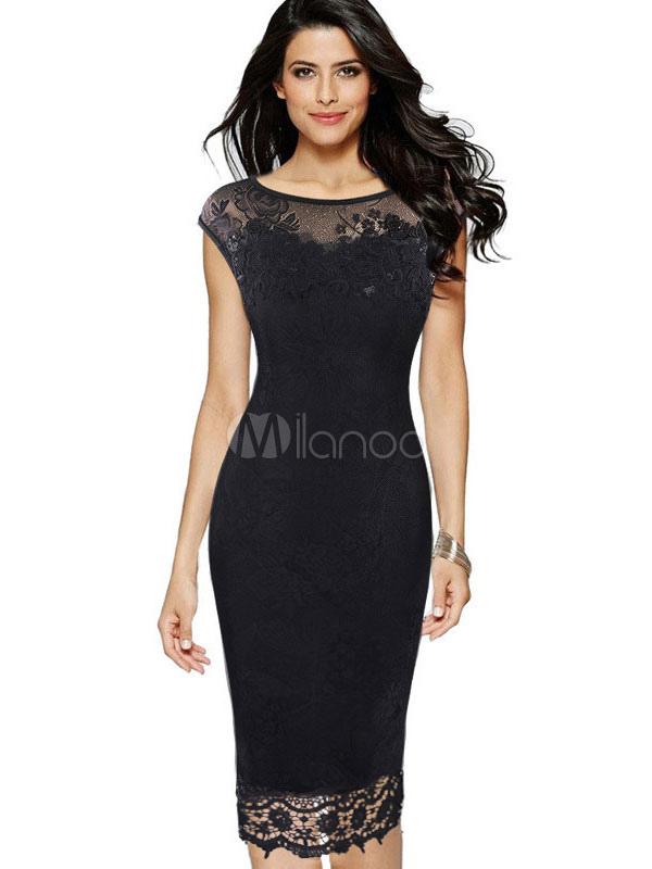Black Lace Dress Bodycon Sleeveless Women's Illusion Sheath Dress (Women\\'s Clothing Lace Dresses) photo