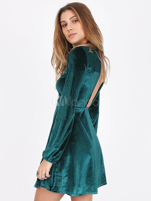 Green Skater Dress Long Sleeve Backless Women's Velour High Collar Short Dress (Women\\'s Clothing Skater Dresses) photo