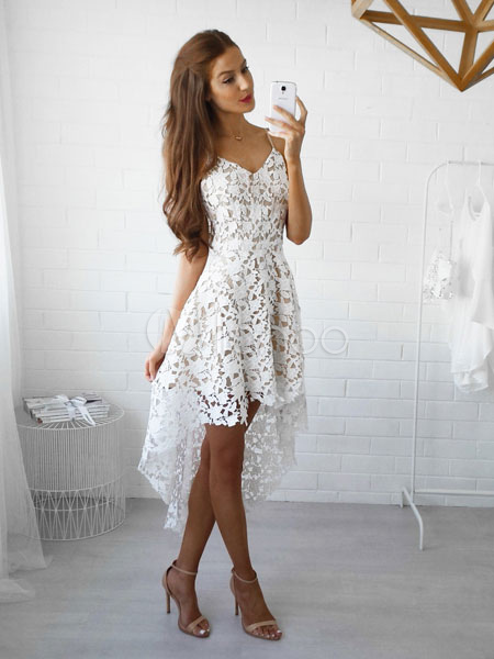 White Lace Dress Spaghetti Straps High Low Semi Sheer Short Dress (Women\\'s Clothing Lace Dresses) photo