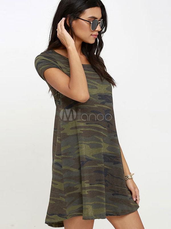 camouflage shift kleid damen kurzarm rundhals bedrucktes t. Black Bedroom Furniture Sets. Home Design Ideas