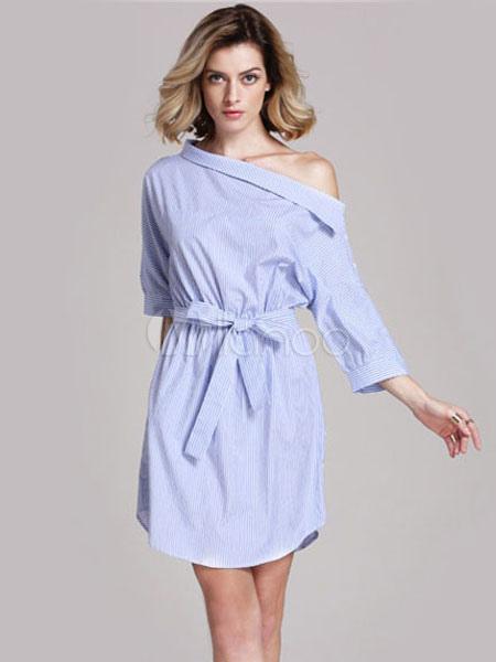 Полосатая рубашка платье с кружевом