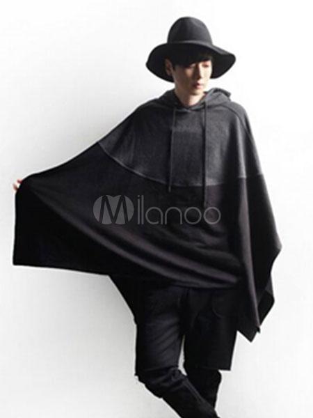 Men's Poncho Coat Oversized Black Hooded Patchwork Cape Coats thumbnail