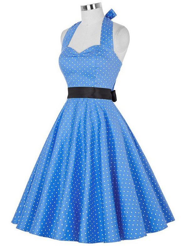 Blue Vintage Dress Halter Sleeveless Polka Dot Deco Backless Pleated Flare Dress With Bow Tie (Women\\'s Clothing Vintage Dresses) photo