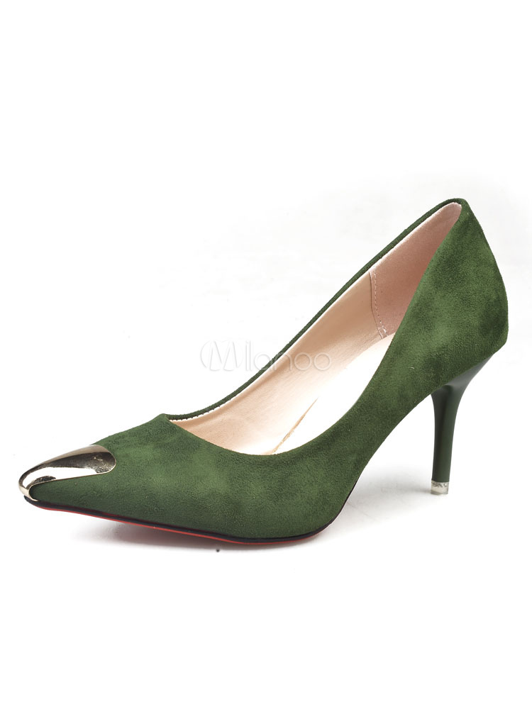 pointed toe heels high heel women 39 s hunter green metal. Black Bedroom Furniture Sets. Home Design Ideas