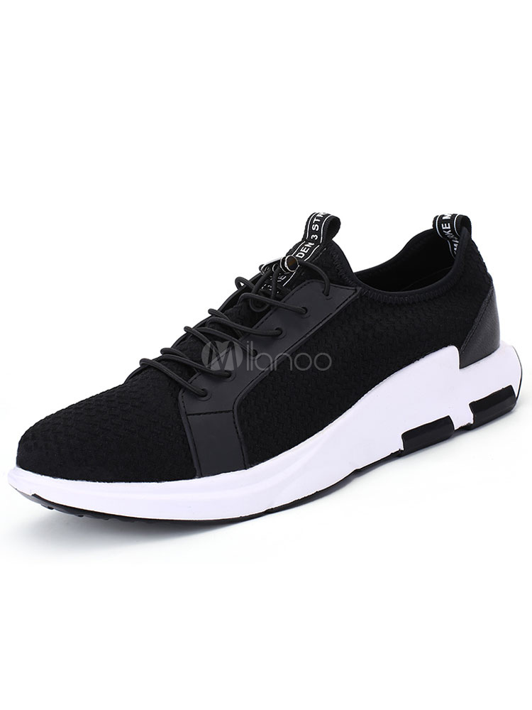 Men's Black Sneakers Mesh Round Toe Strappy Casual Shoes thumbnail