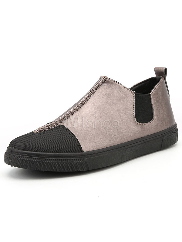 Men's Casual Shoes Two Tone Round Toe Elastic Slip On Sneakers thumbnail