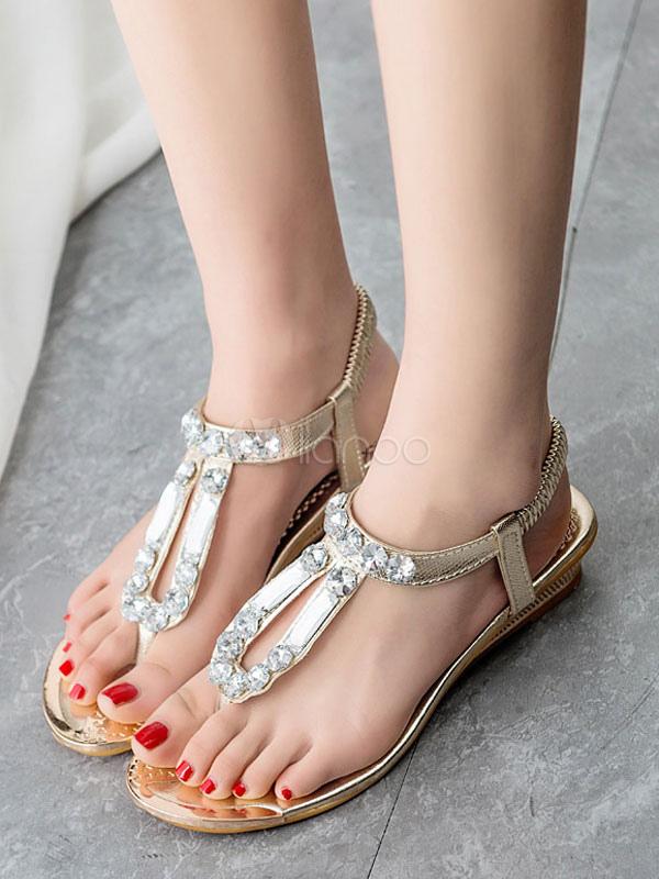 silberne flache sandalen boho strass perlen slingpumps. Black Bedroom Furniture Sets. Home Design Ideas