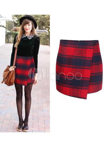 chic jupe mode en coton m lang rouge cossais coupe asym trique avec zip. Black Bedroom Furniture Sets. Home Design Ideas